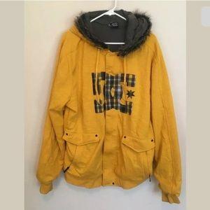 DC Logo Cotton Yellow Hooded W/Fur MEN'S XXL (hh)